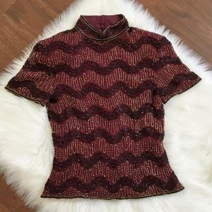 Papell Boutique Silk Beaded High Neck Top